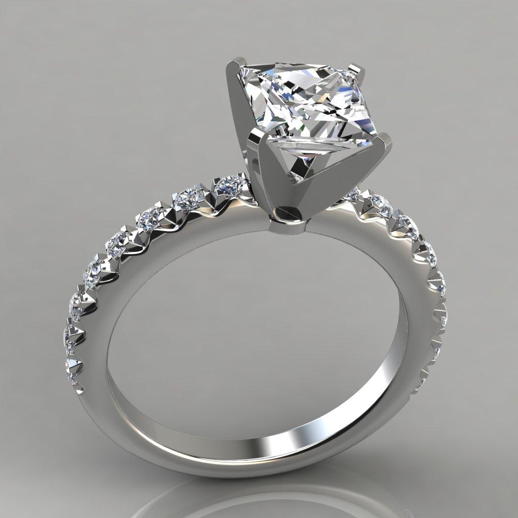 Delicate French Cut Setting Engagement Ring PureGemsJewels