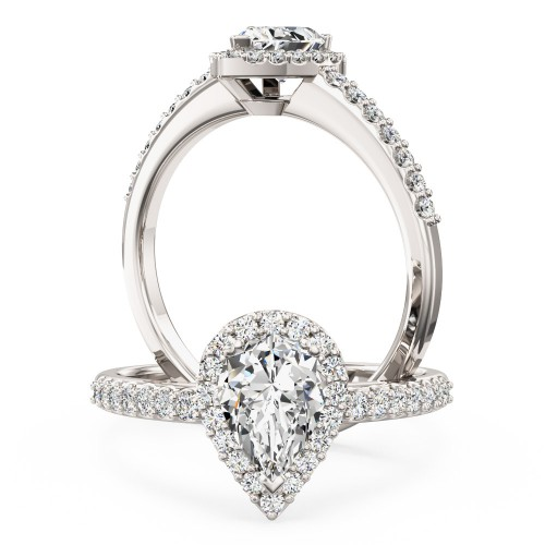 Pear Shaped Cluster Diamond Ring With Shoulder Stones In