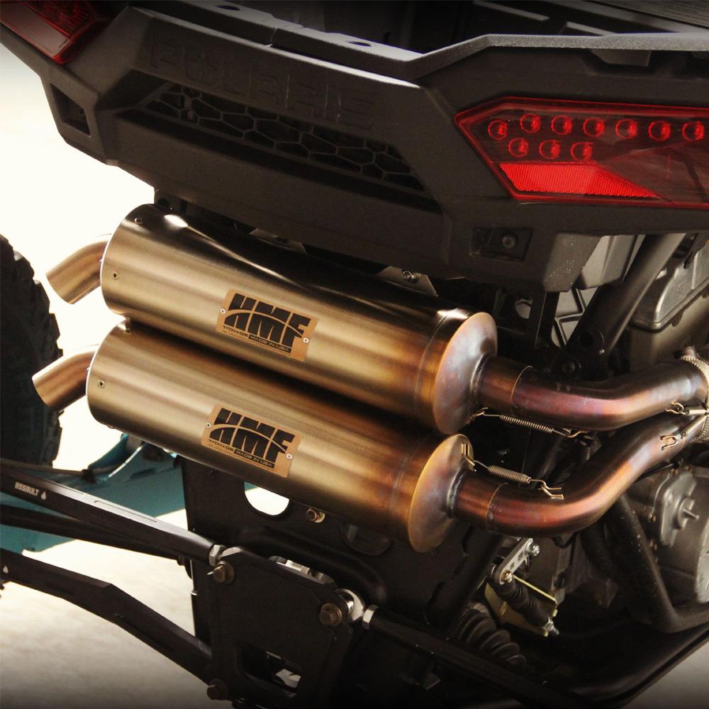 hmf titan full dual exhaust system for polaris rzr xp 1000 2014