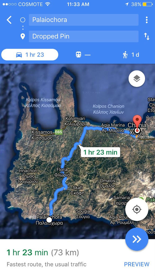 driving directions from Chania to Paleochora