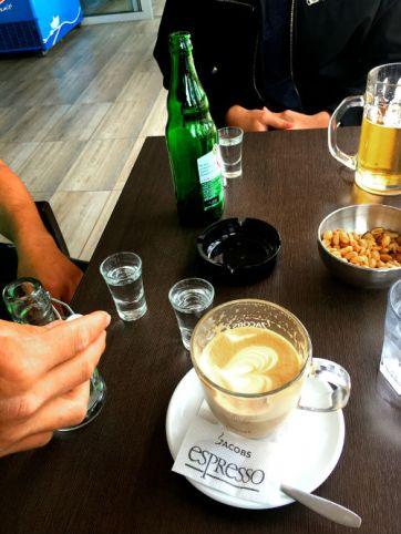 jacobs coffee and raki with Christos