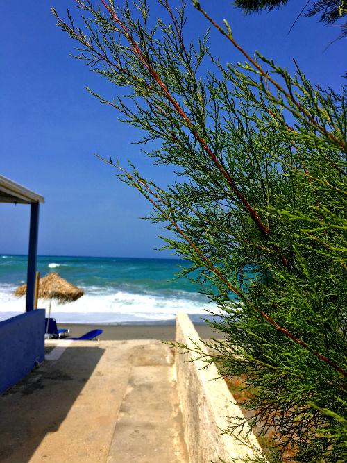 platanias beach and walkway