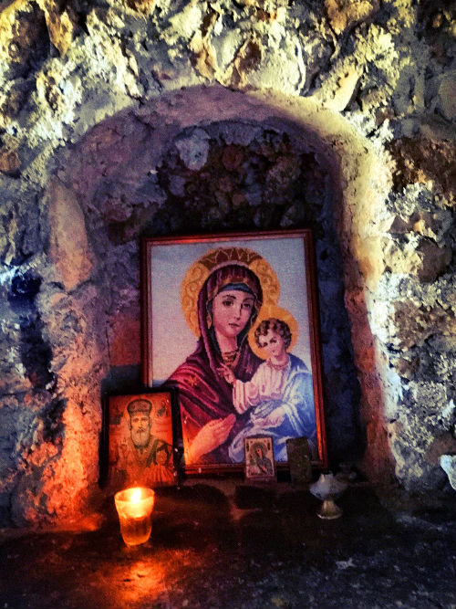 shrine inside agia cave - crete, greece