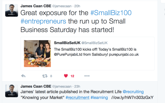James Caan follows SmallBiz100 Pure Punjabi on Day 1 of Small Business Saturday