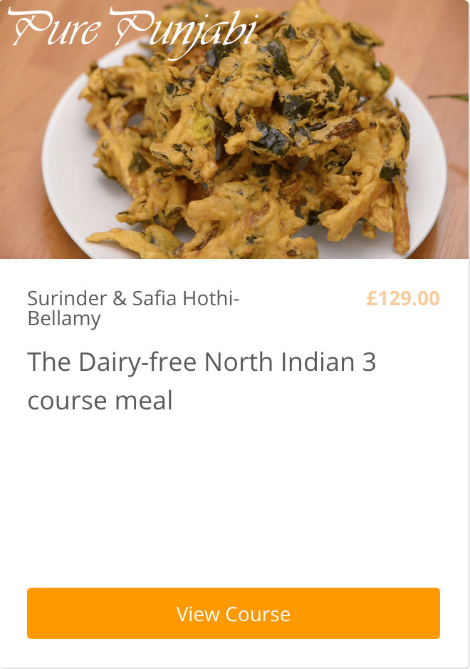 Dairy-free 3 course Indian meal Pure Punjabi e-learning cookery course