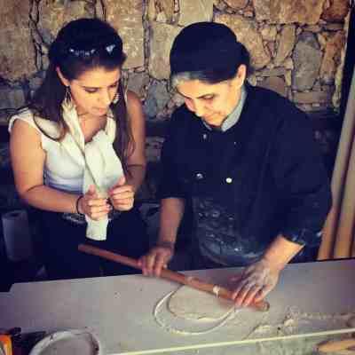 Making stuffed Lavash