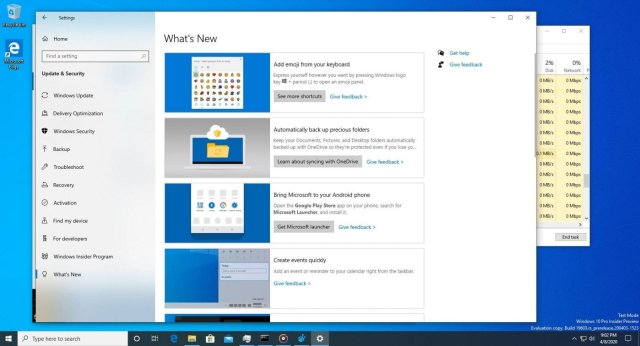 Windows10 What's new settings