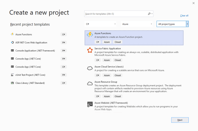 Create a new project with Visual Studio
