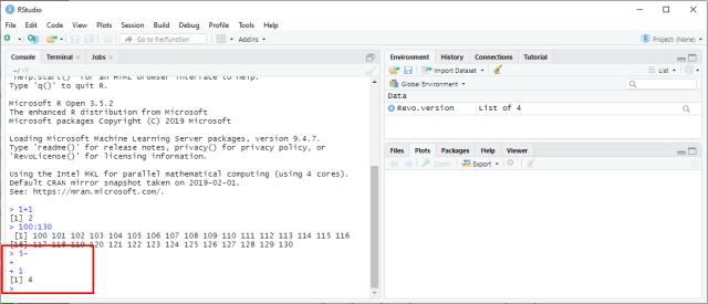RStudio - Example incomplete command