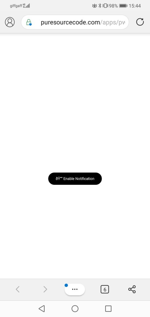 PWA notifications screenshot in Android