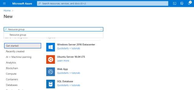 Search for a Resource Group to create- Deploy ShinyApps with Azure and Docker