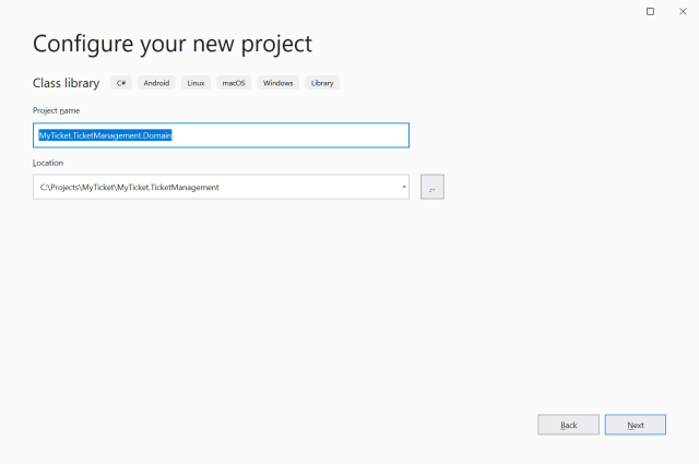 Named the project and check the location - Setting up the application ASP.NET Core