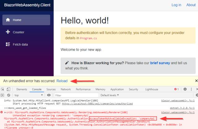 AccessTokenNotAvailableException error message in the Http request