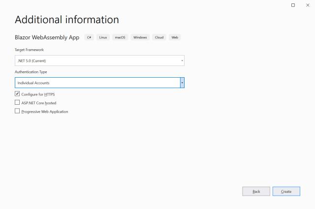 Select Individual Accounts - Secure Blazor WebAssembly with IdentityServer4