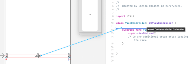 Outlet between ViewController.swift and the code file