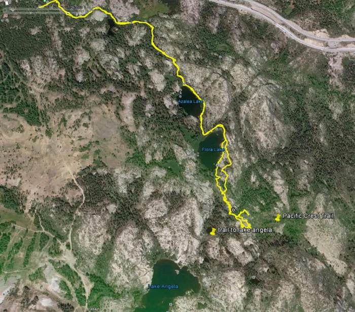 Flora Lake loop on Google earth