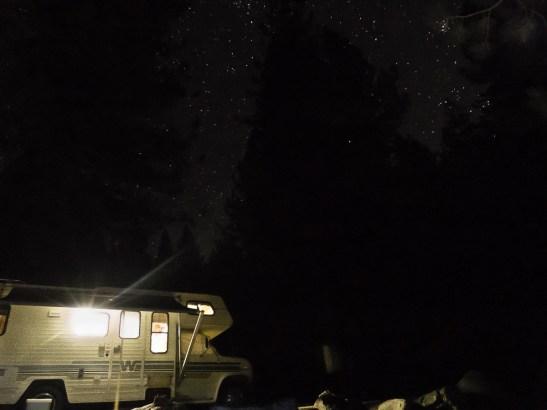 night shot of campsite