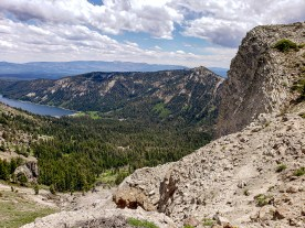 View to Independence lake from Sphinx head just below Mt . Lola