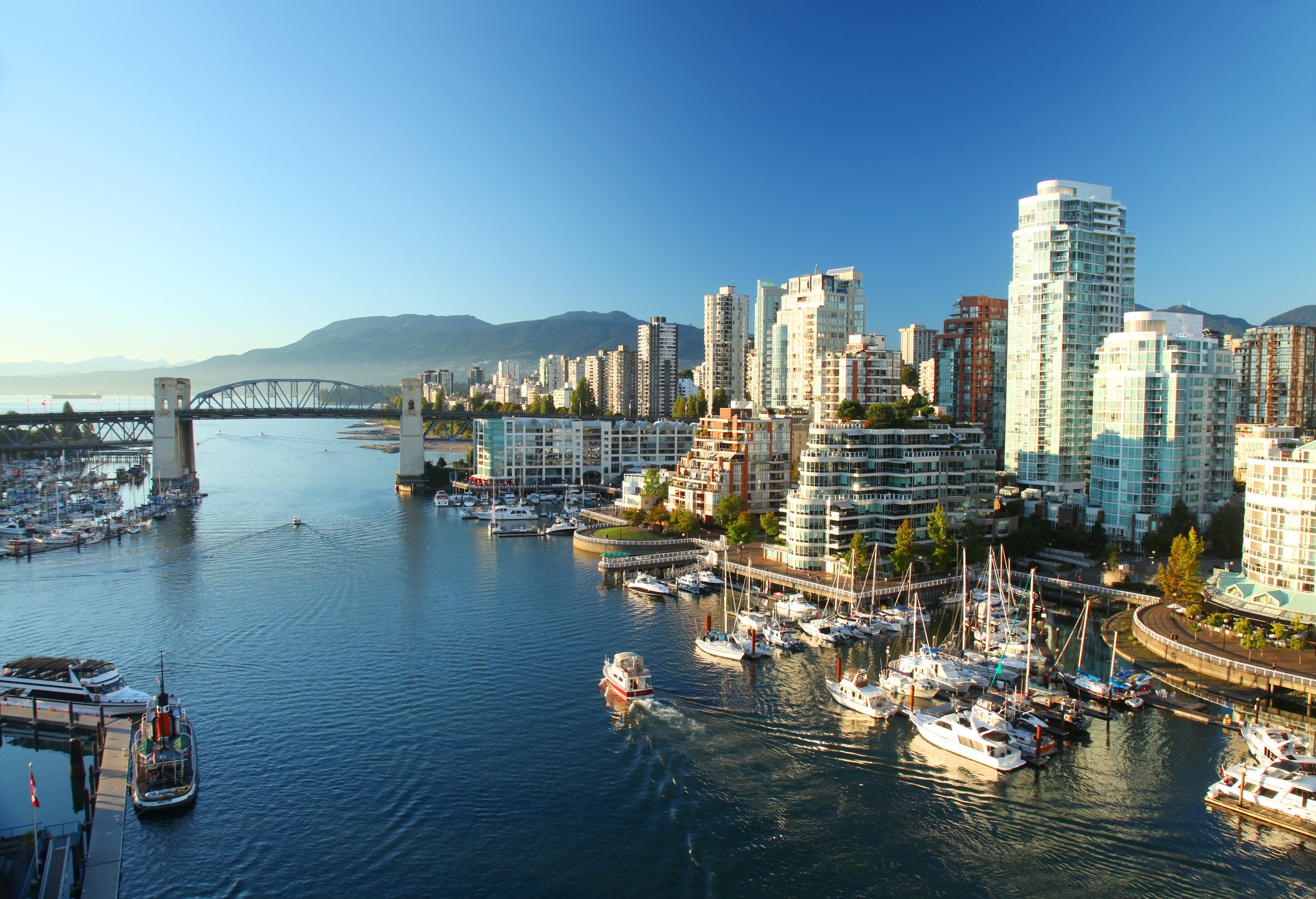 The downtown view of Vancouver in Canada in the morning