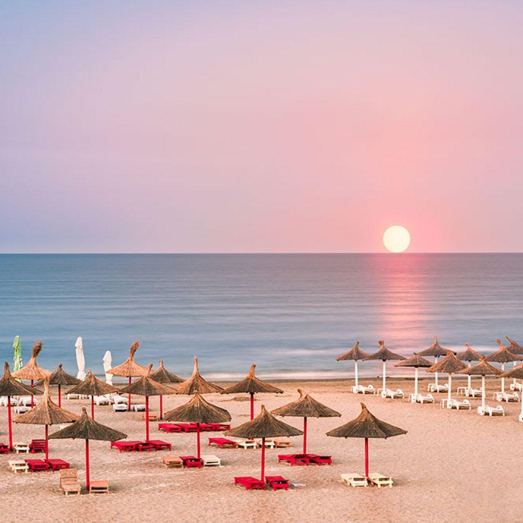 Clear sky sunrise over a sandy Black Sea beach