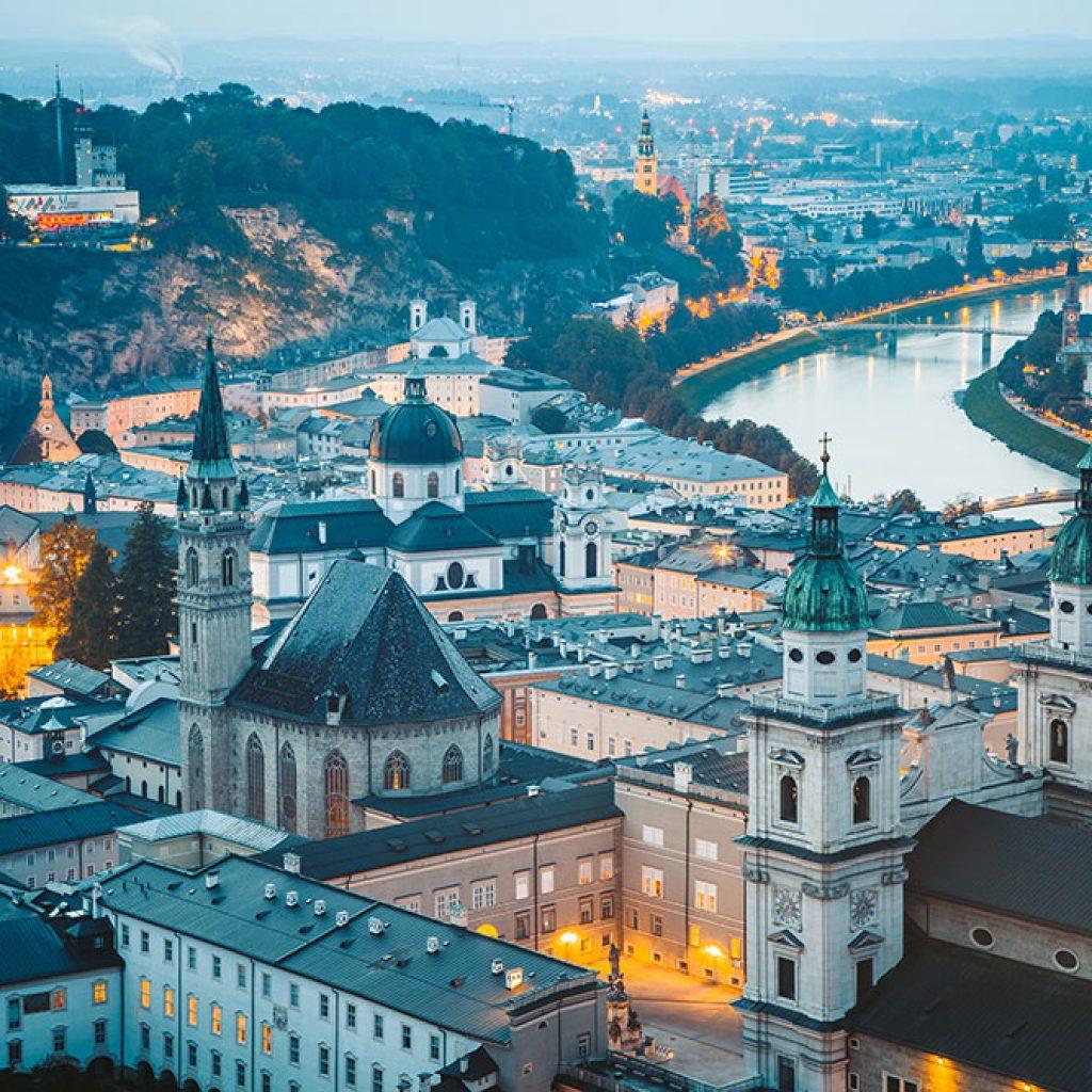 Historic city of Salzburg at twilight