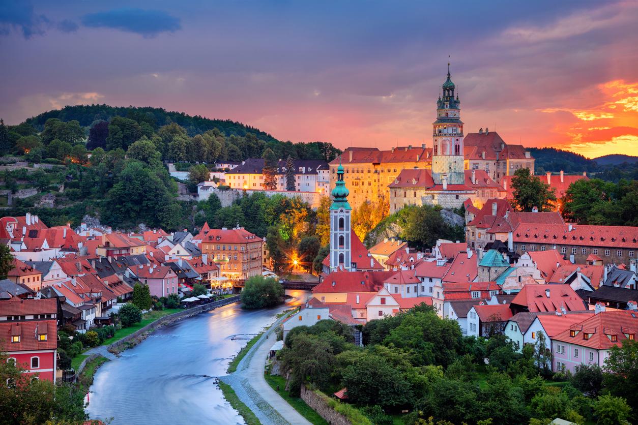 Cesky Krumlov, Czech Republic during summer sunset.