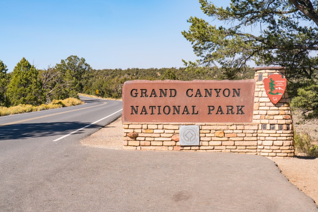 Entrance sign to Grand Canyon National Park, Arizona
