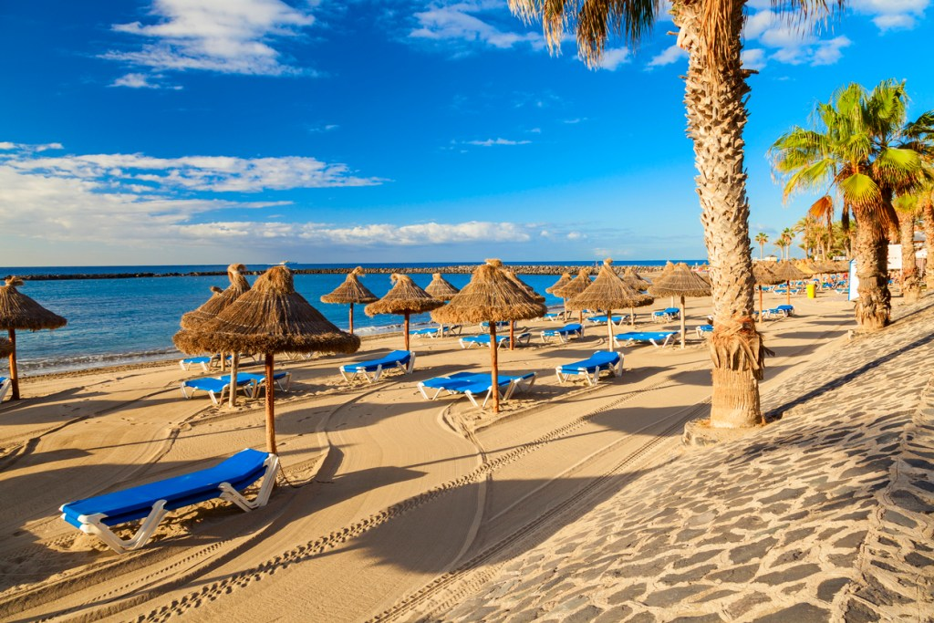 Los Cristianos Beach on the island of Tenerife