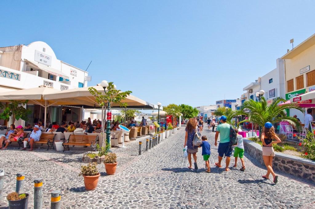 Fira street on the island of Santorini, Greece.