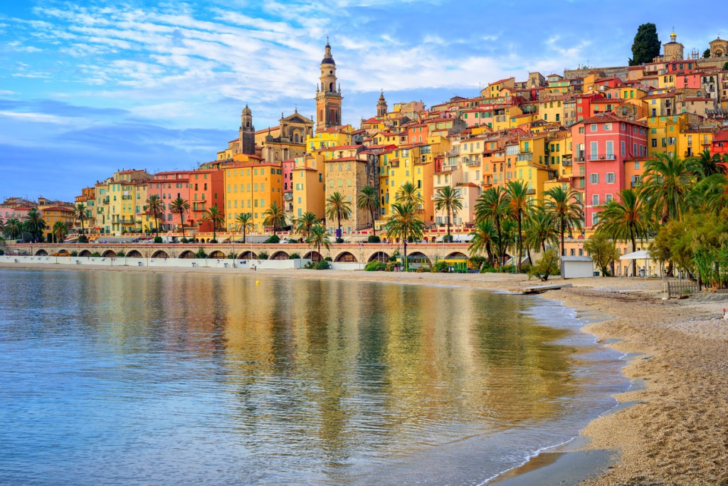 Picturesque medieval village Menton on Riviera, Mediterranean sea, France