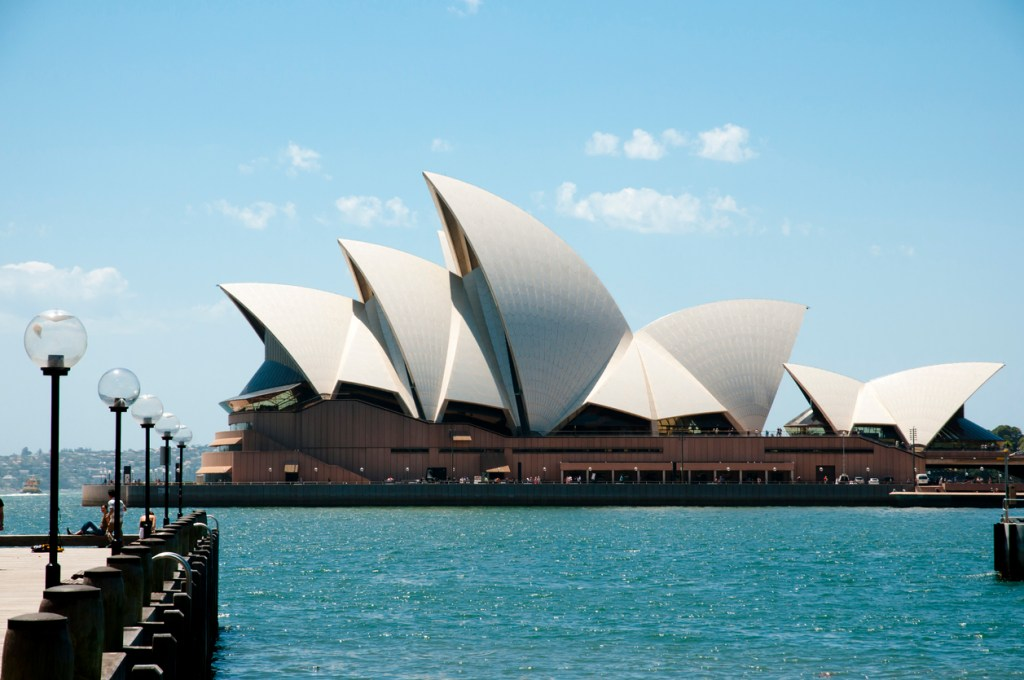The Sydney Opera House seen from the west end of Circular Quay