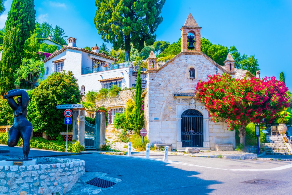 View of a chapel in the village of Saint Paul de Vence in France