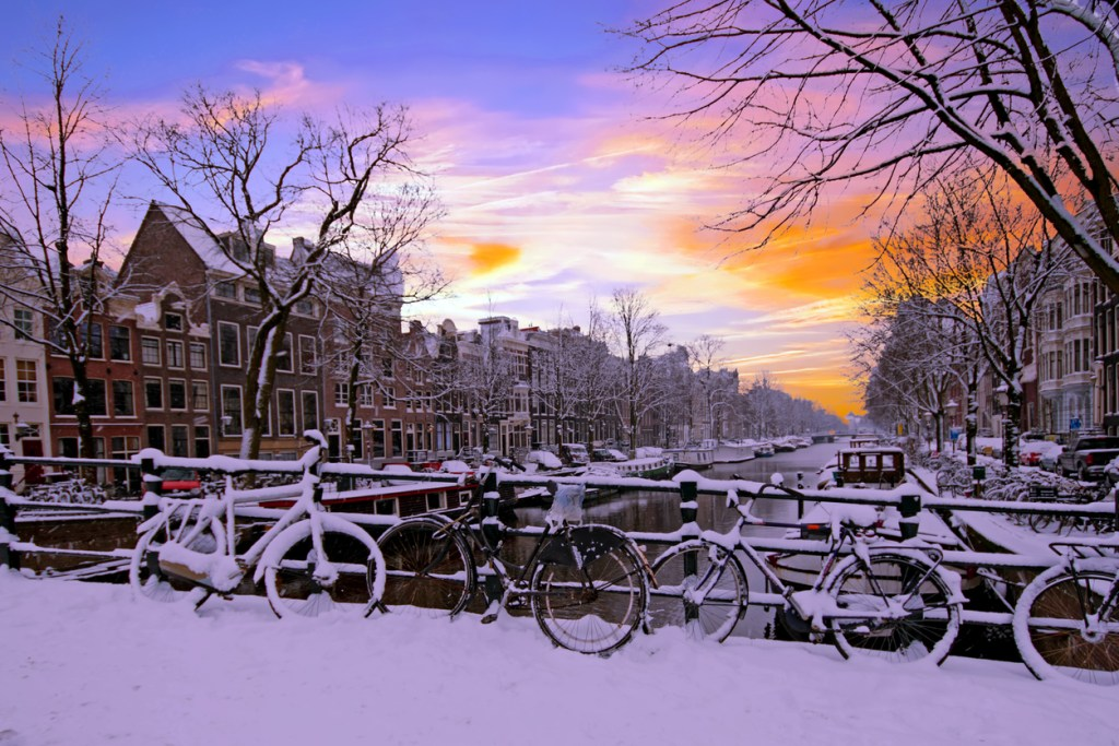 Amsterdam covered with snow in winter