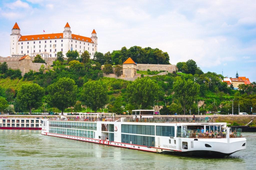 Cityscape of Bratislava with river cruise boat