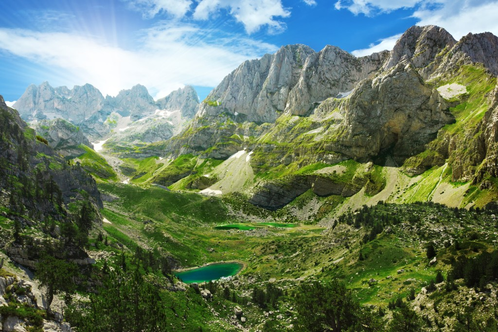 Amazing view of mountain lakes in Albanian Alps