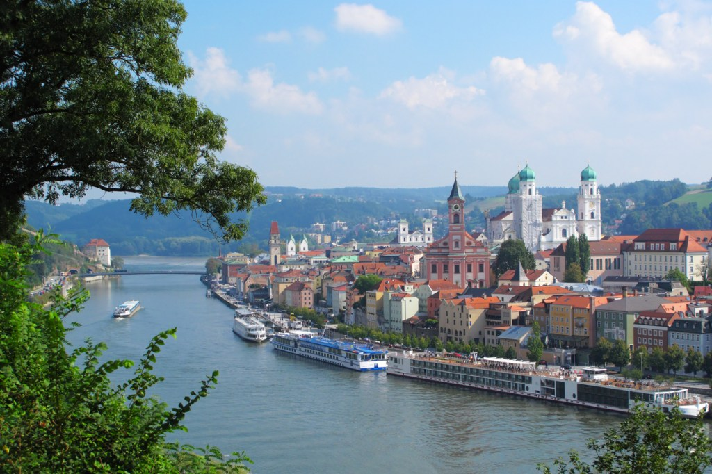 View on Passau, the city of three Rivers in Bavaria, Germany.