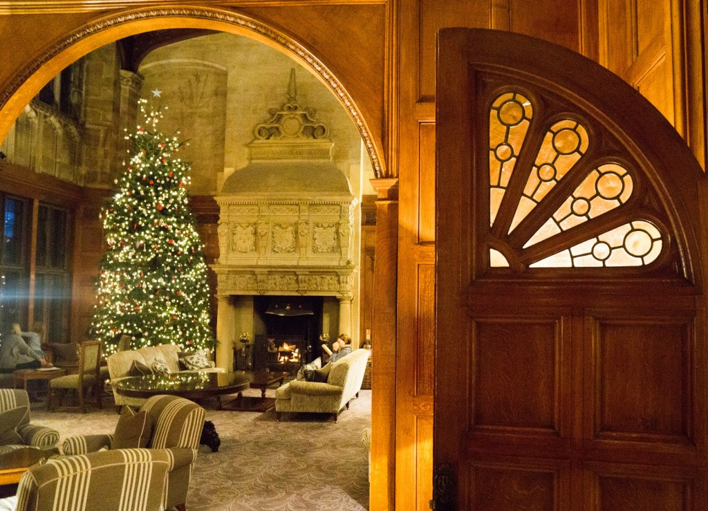 Bovey Castle at Christmas with Christmas Tree