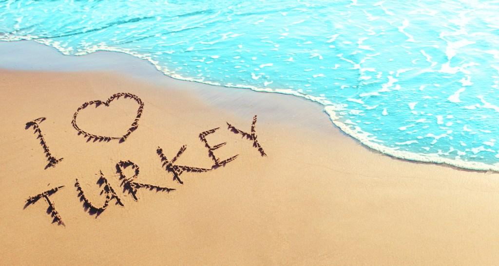I love Turkey Written on the Sand
