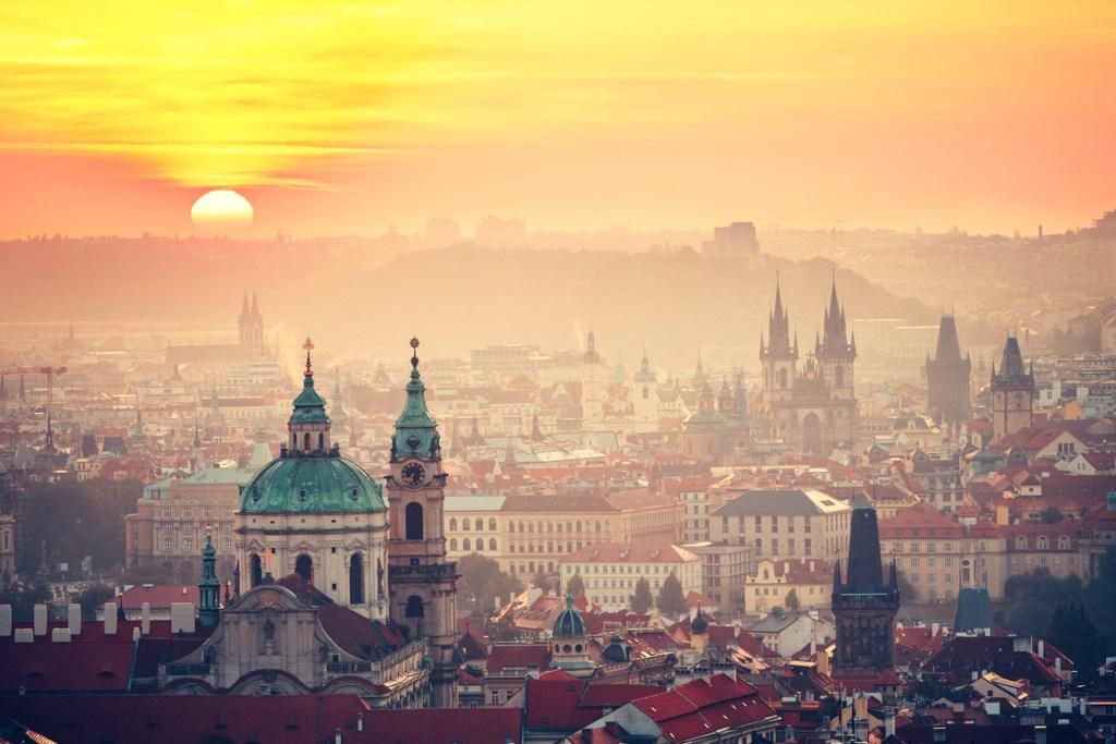 City of Prague at sunrise