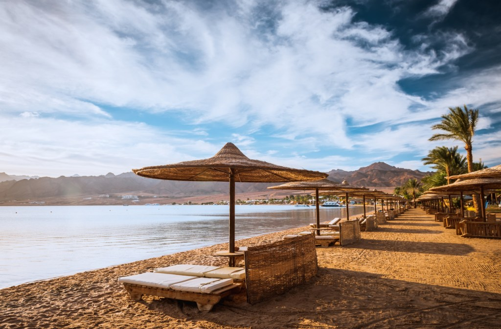Relax under a parasol on the beach of Red Sea, Egypt