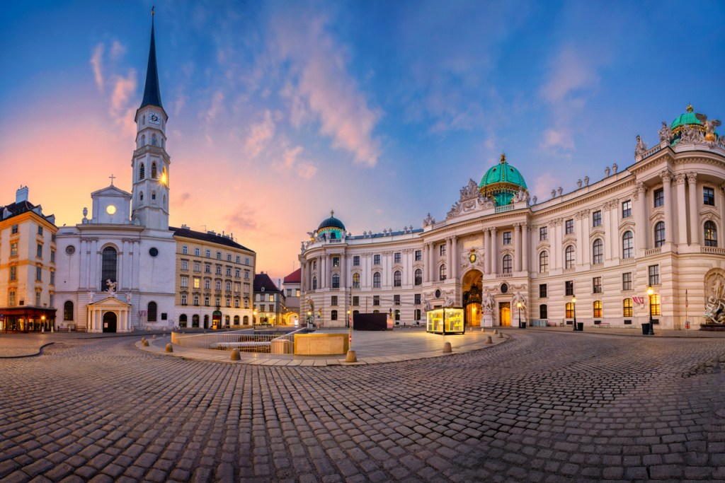 Cityscape image of Vienna, Austria with St. Michael's Square during sunrise.