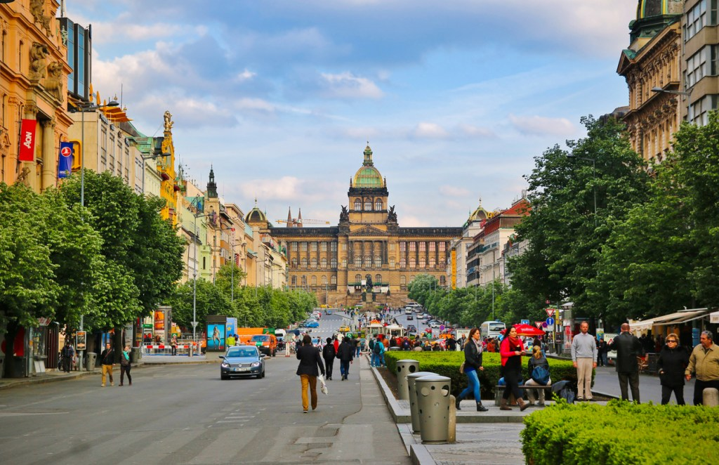 Wenceslas Square in Prague on a summer afternoon