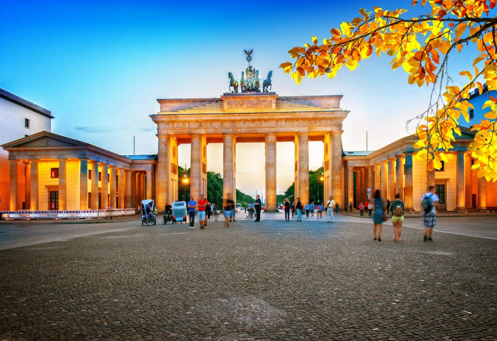 Brandenburg gate at night, Berlin, Germany at fall