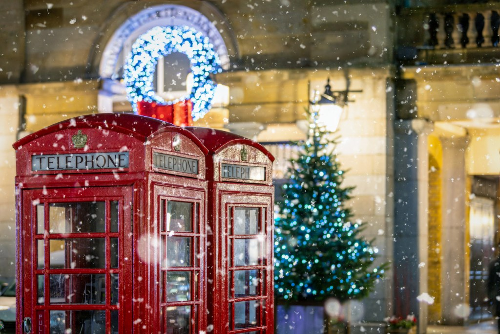 Red Telephone Box in Christmas in London