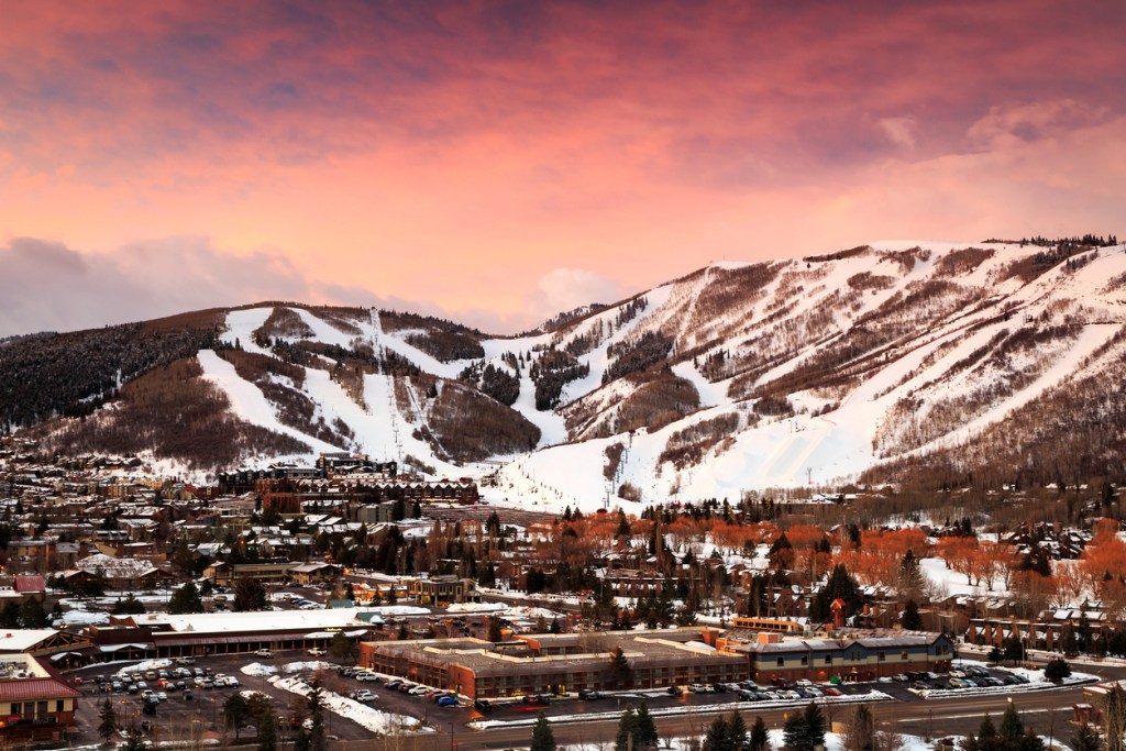 Winter sunrise in Park City, Utah, USA.
