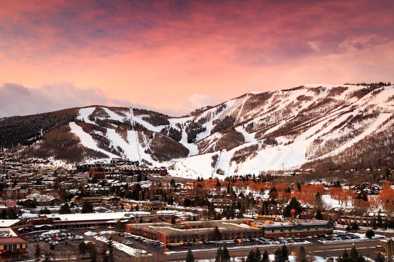 Winter sunrise in Park City, Utah, USA.