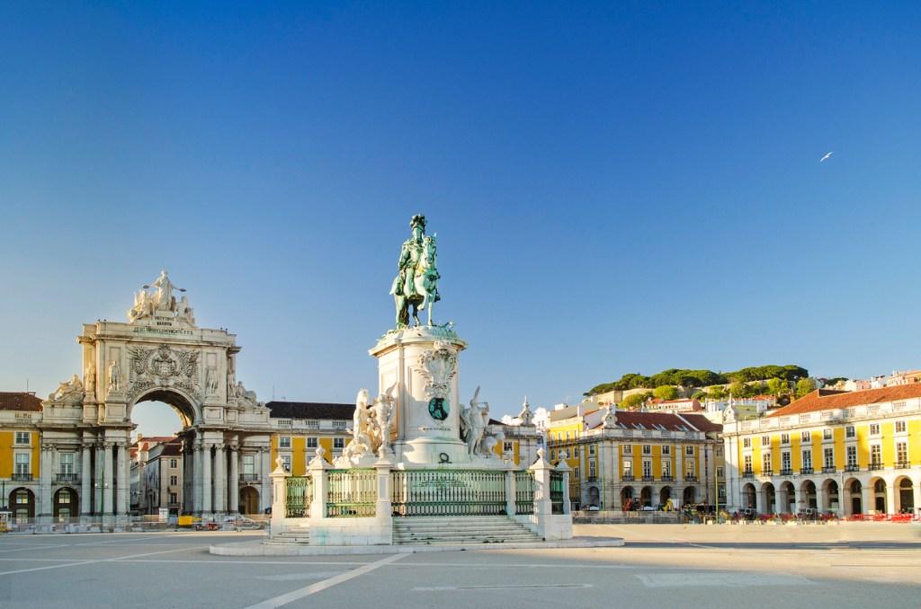 The 'praca do comercio square' located in Lisbon, Portugal