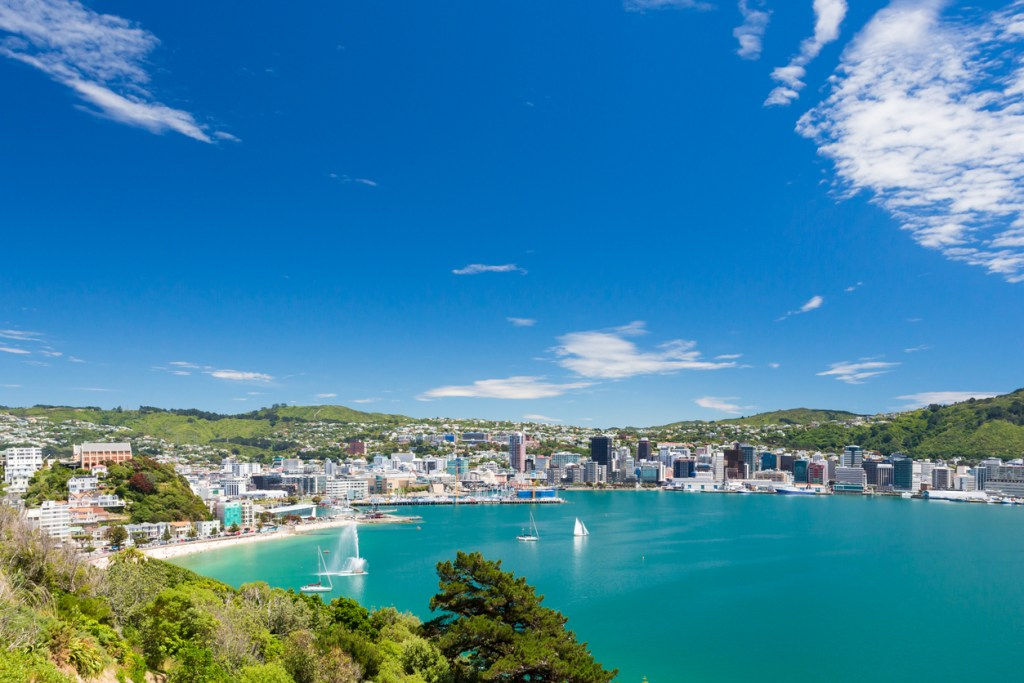 View from Mount Victoria into the bay of Wellington (capital city of New Zealand)