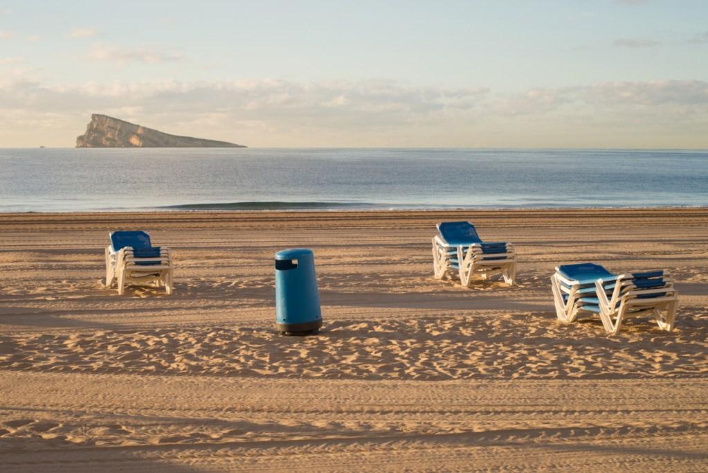 Benidorm beach on a sunny winter day