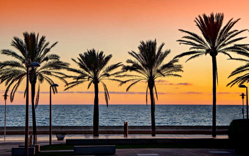 Mediterranean beach sunset in Almeria, Spain